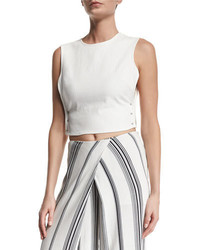 Pierced open side crop top bright white medium 659863