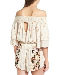 Band of Gypsies Poinsettia Off The Shoulder Crop Top