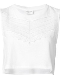Saint Laurent Embroidered Panel Crop Top