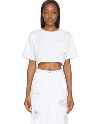 Sjyp White Cotton Cropped T Shirt
