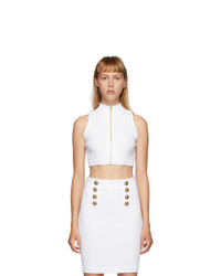 Balmain White Diamond Knit Button Top