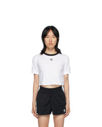 adidas Originals White Logo Crop T Shirt