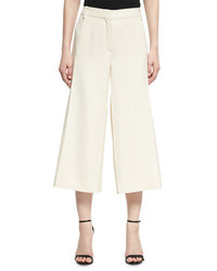 Crepe couture cropped wide leg pants ivory medium 4016795