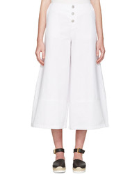 See by Chloe See By Chlo White Cropped Wide Leg Trousers