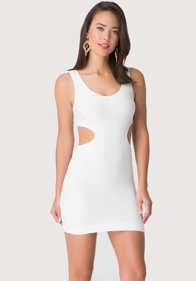 Textured Side Cutout Dress