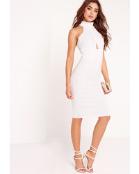 Missguided Choker Wrap Top Bodycon Dress White