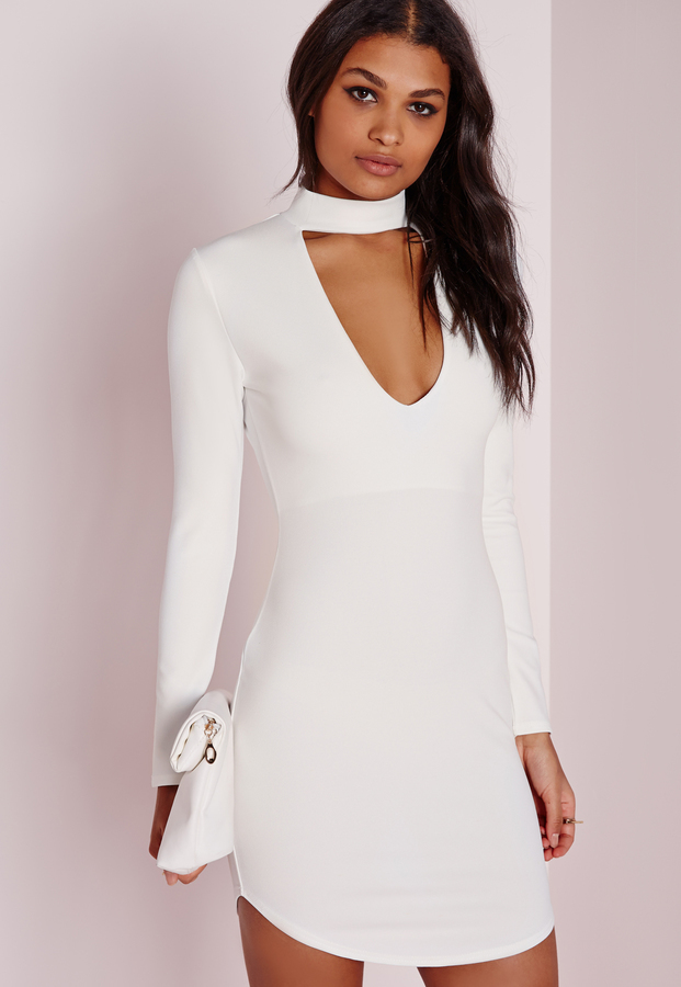 7b9b96f7f38 Missguided Petite Crepe Choker Curve Hem Cut Out Bodycon Dress White ...