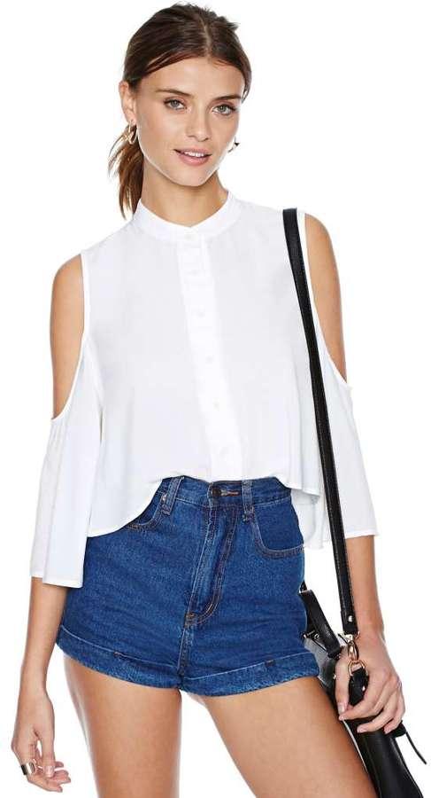 08eaf614982 Nasty Gal Cold Shoulder Blouse, $38 | Nasty Gal | Lookastic.com