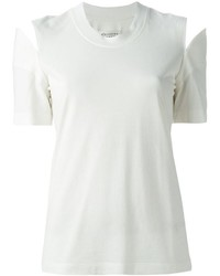 White Cutout Crew-neck T-shirt