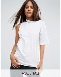 Asos Tall Asos Tall T Shirt With One Shoulder And Nibble Detail