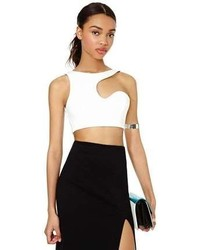 White Cutout Cropped Top
