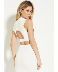 Rehab ribbed cutout back crop top medium 378370