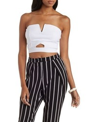 Charlotte Russe Strapless Cut Out Crop Top