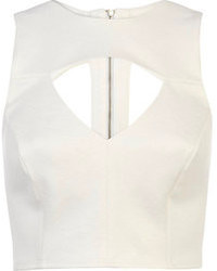 River Island White Jacquard Cut Out Crop Top
