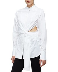 3.1 Phillip Lim Long Sleeve Cotton Side Slit Blouse White