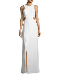 Heritage sleeveless cutout stretch crepe column gown medium 4156731