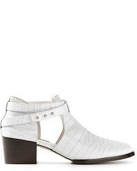 White Cutout Leather Ankle Boots