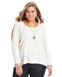 Jessica Simpson Plus Size Top Long Sleeve Cutout Beaded