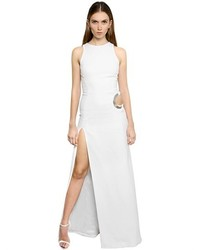 Thierry Mugler Cutout Stretch Cady Dress W Metal Chain