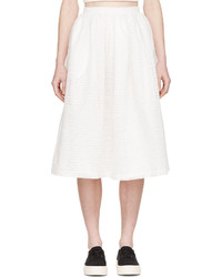White Cutout Midi Skirt