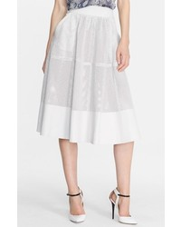 Rachel Zoe Bradford Perforated Leather Midi Skirt Soft White 12