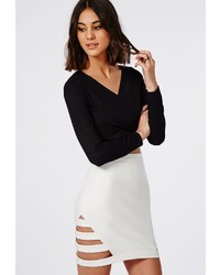 Missguided cage side faux leather mini skirt white medium 208462