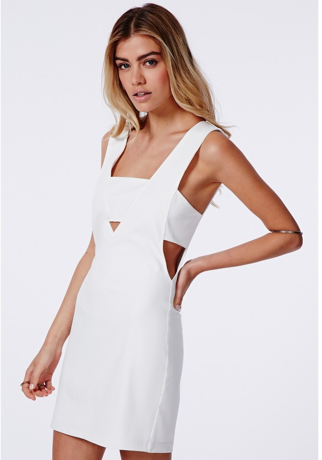 Missguided Fay Cut Out V Neck Bodycon Dress White | Where to buy ...