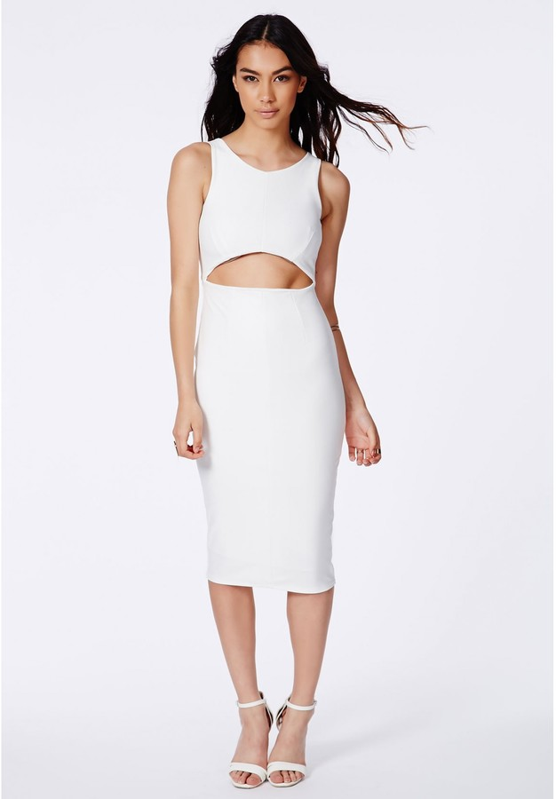 White cut out midi dress.