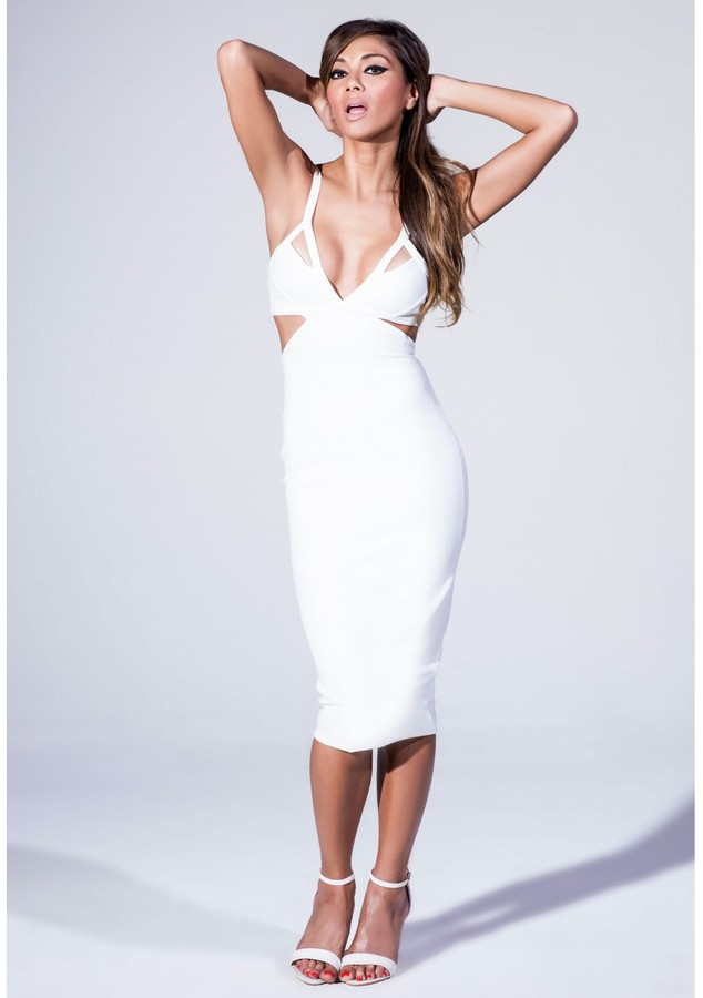 Missguided Plunge Neck Cut Out Midi Dress In White | Where to buy ...