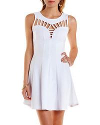 White Cutout Skater Dress