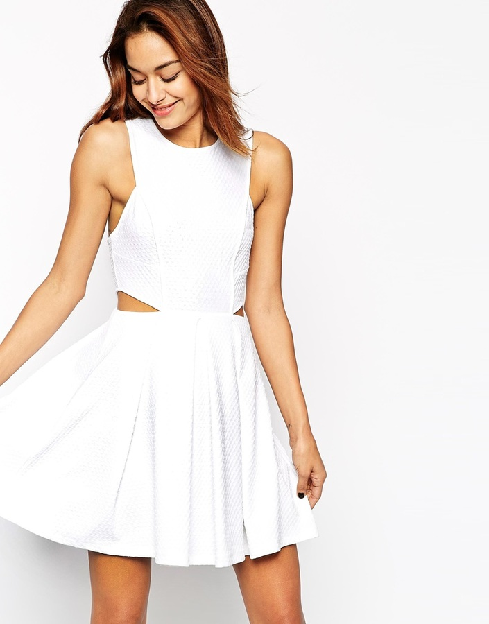 White Cutout Skater Dresses Asos Collection Dress In Texture With Cut Out Side