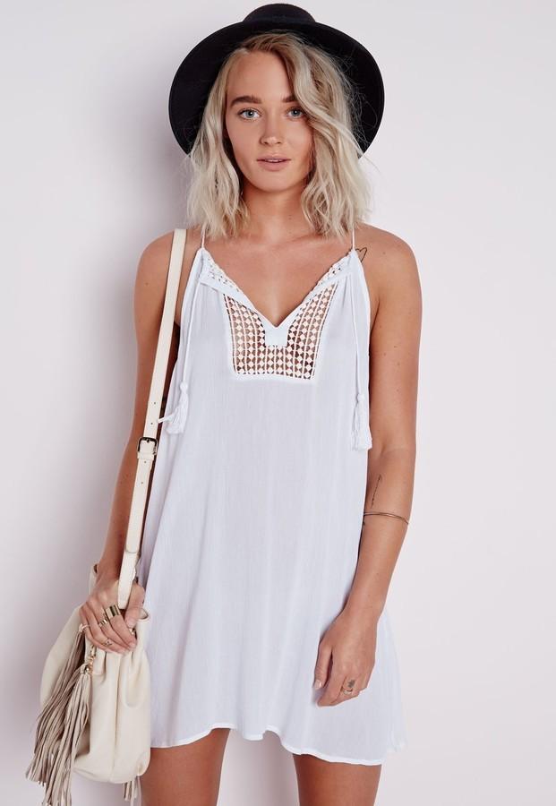 b3361e41da ... Missguided Cheesecloth Crochet Front Semi Sheer Swing Dress White ...
