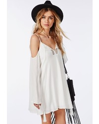 Missguided cheesecloth cold shoulder crochet swing dress white medium 289900