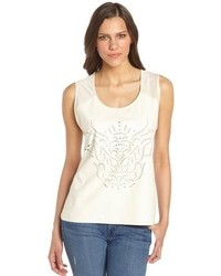 C&C California Vanilla Laser Cut Faux Leather And Stretch Jersey Tank