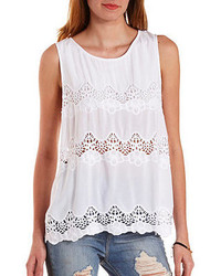 Charlotte Russe Embroidered Cut Out Tank Top