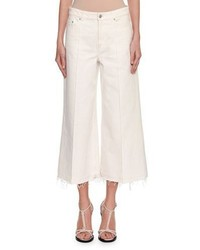 Alexander McQueen Denim Culottes With Released Hem Chalk