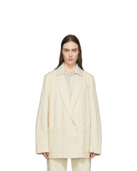 Lemaire Off White Denim Double Breasted Jacket