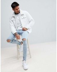c9539a9422e7 Boohooman Denim Jacket With Fleece Lining In White Wash, $76 | Asos ...