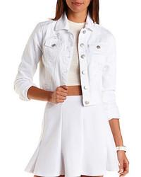 Charlotte Russe Refuge Cropped White Denim Jacket