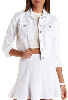 White Denim Cropped Jacket | Customize Jacket
