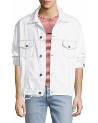 Distressed denim trucker jacket medium 6993675