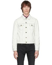 Saint Laurent Off White Denim Fitted Jacket