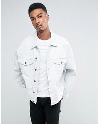 Asos Oversized Denim Jacket In Bleach Wash