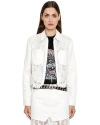 McQ by Alexander McQueen Short Cotton Denim Lace Jacket