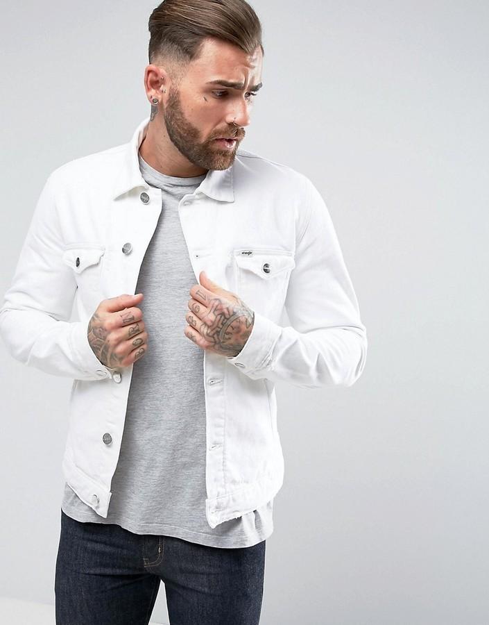 0190a8b3967 ... Wrangler The Slim Authentic Denim Jacket White Ripped ...