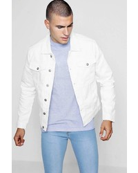 Boohoo White Distressed Denim Jacket