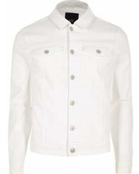 River Island White Muscle Fit Denim Jacket