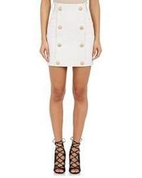 Balmain Coated Denim Sailor Miniskirt White