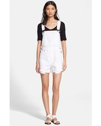 Each x other frayed denim short overalls medium 173129