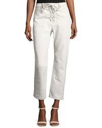 A.L.C. Yoko Lace Front Denim Pants White